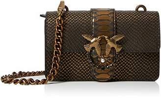 Pinko Mini Love Bronze Python Tracolla Pelle St.pitone, Women's Shoulder Bag,6.5x12x21 cm (W x H L)