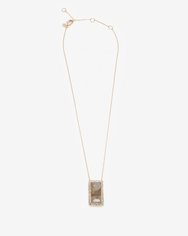 Alexis Bittar Framed Baguette Labradorite Pendant Necklace