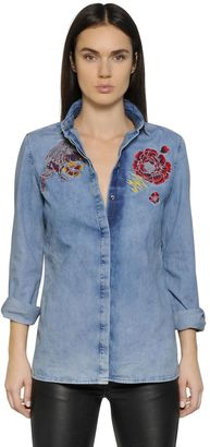 Embroidered Faded Cotton Denim Shirt $265 thestylecure.com
