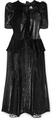 Erdem Diantha Striped Metallic Velvet And Flocked Tulle Midi Dress - Black