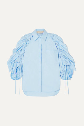 Antonio Berardi Ruched Cotton-poplin Shirt - Blue