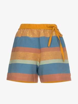 A Peace Treaty Striped cotton and silk shorts