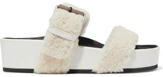 Rag & Bone Evin Shearling Platform Slides - Cream