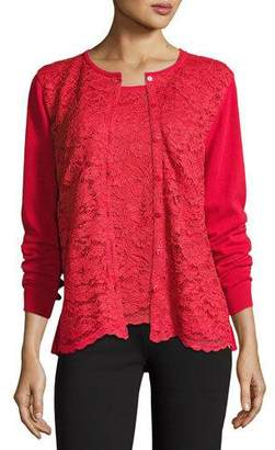 Joan Vass Lace-Inset Button-Front Long-Sleeve Cardigan, Petite