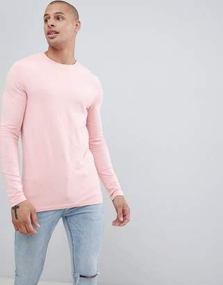 Asos Design DESIGN muscle fit long sleeve t-shirt with crew neck in pink
