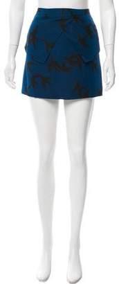 Tibi Bird Print Wool Skirt