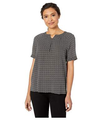 Vince Camuto Short Sleeve Diamond Dashes Henley Blouse