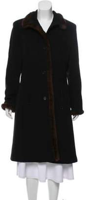 Andrew Marc Mink-Trimmed Wool and Angora-Blend Coat Black Mink-Trimmed Wool and Angora-Blend Coat