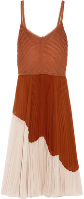 Jason Wu - Two-tone Pleated Crinkled-chiffon Midi Dress - Camel $2,495 thestylecure.com