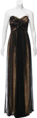 Marchesa Strapless Mesh Gown w/ Tags