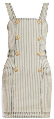 Balmain Striped Denim Mini Dress - Womens - Blue White