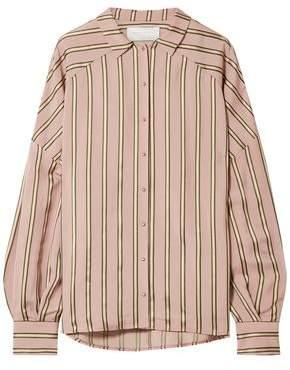 Esteban Cortazar Volume Oversized Striped Satin Shirt