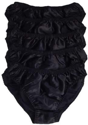 Qianya Men's Bikini Briefs 100% Pure Silk 5 Pairs in One Economic Pack (L)