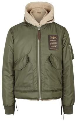 Schott NYC Green Bomber Jacket And Suede Gilet