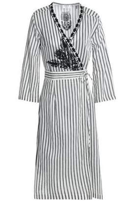 DAY Birger et Mikkelsen Embroidered Striped Twill Wrap Dress