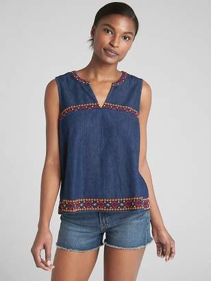Gap Sleeveless Embroidered Ruffle Top in Denim