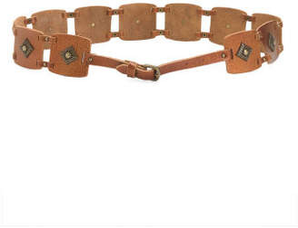Women's Made In Italy Leather Patch Belt With Studs