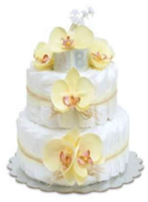 Bloomers Baby Small Yellow Orchids Diaper Cake by by
