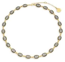 Freida Rothman Gilded Cable Sterling Silver & Pavé Crystal Station Short Choker Necklace