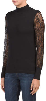 Mock Neck Pullover With Lace Sleeves