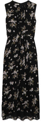 Vince Asymmetric Floral-print Silk Dress - Black