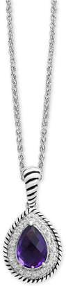 Effy Amethyst (1-3/4 ct. t.w.) & White Sapphire (1/3 ct. t.w.) Teardrop Pendant Necklace in Sterling Silver