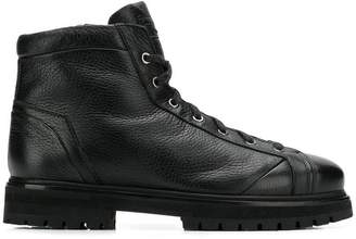 Santoni pebbled hi top sneaker boots
