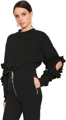 Francesco Scognamiglio Ruffled Cotton Sweatshirt W/ Cutouts