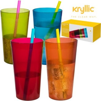 IDEA Kryllic Reusable Plastic Cup Drinkware Tumblers - 4 Assorted colors break resistant 20 oz dishwasher safe drinking stacking water glasses cups! great decorations restaurant quality suitable 4 toddler & kids!