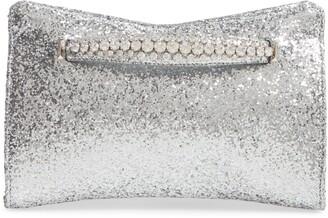 Jimmy Choo Galactica Glitter Clutch with Crystal Bracelet Handle