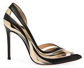 15a6dc1ec8 Gianvito Rossi Women's Metallic & Translucent Stripe Point Toe Pumps