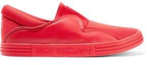 Y-3 + Adidas Originals Sunja Leather-Trimmed Mesh And Neoprene Slip-On Sneakers
