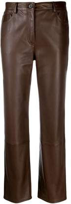 The Row leather cropped trousers