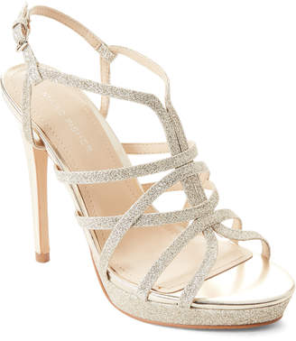 Marc Fisher Gold Jaslyn Glitter Strappy Platform Sandals
