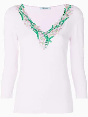 Blumarine embroidered neck sweater