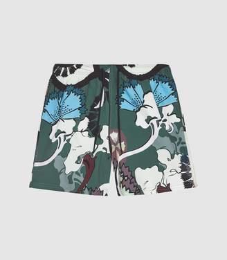 53942bb3ad Reiss Thron - Printed Swim Shorts in Green