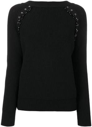 No.21 eyelets and gem details rib knit top