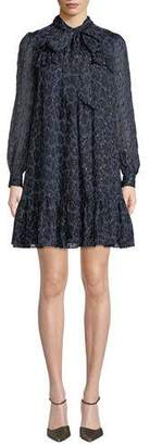 Kate Spade Leopard Clip Dot Long-Sleeve Mini Dress