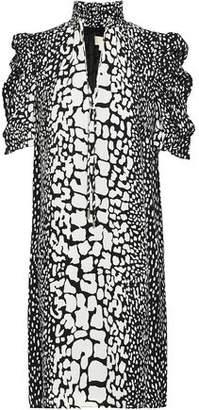 MICHAEL Michael Kors Printed Ruffle-Trimmed Silk-Crepe Dress