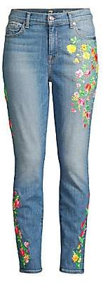 7 For All Mankind Women's High-Rise Embroidered Floral Skinny Ankle Jeans
