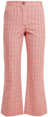 Stella Jean Checked cotton-blend flared trousers