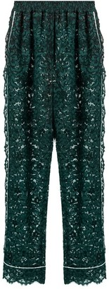Dolce & Gabbana High Rise Straight Leg Cordonetto Lace Trousers - Womens - Green