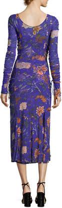 Diane von Furstenberg Floral-Print Long-Sleeve Overlay Mesh Gown