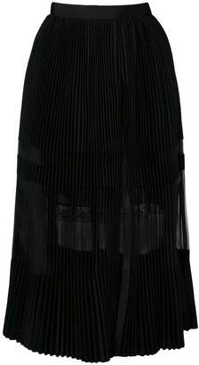 Sacai pleated lace skirt