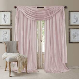 """Athena 52"""" x 95"""" Crinkled Curtain Panels, Pair with Scarf Valance"""