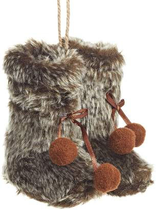 Glucksteinhome Merry Bright Faux Fur Boots Ornament