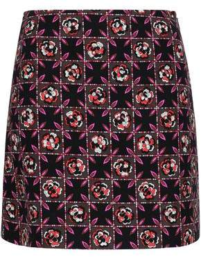 Emilio Pucci Checked Wool And Silk-blend Crepe Mini Skirt
