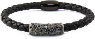 """Liza Schwartz Jewelry Braided Leather Bracelet """"Black Bar"""""""
