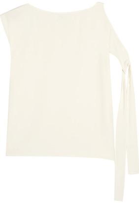 Helmut Lang - Cold-shoulder Crepe De Chine Top - Ivory $295 thestylecure.com