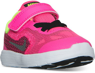 Nike Toddler Girls' Revolution 3 Velcro Running Sneakers from Finish Line $47.99 thestylecure.com
